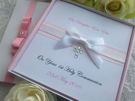 Handmade Christening Cards Uk - christening baptism holy communion card personalised