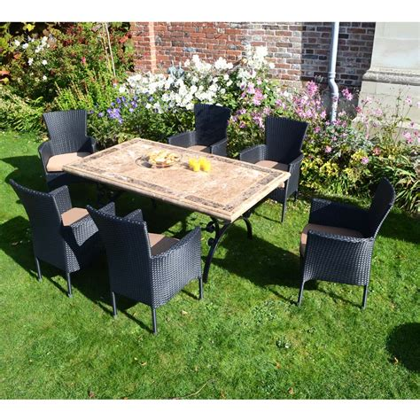 Garden Dining Set Sale Monte Carlo With 6 Black Stockholm Chairs Beige Cushions