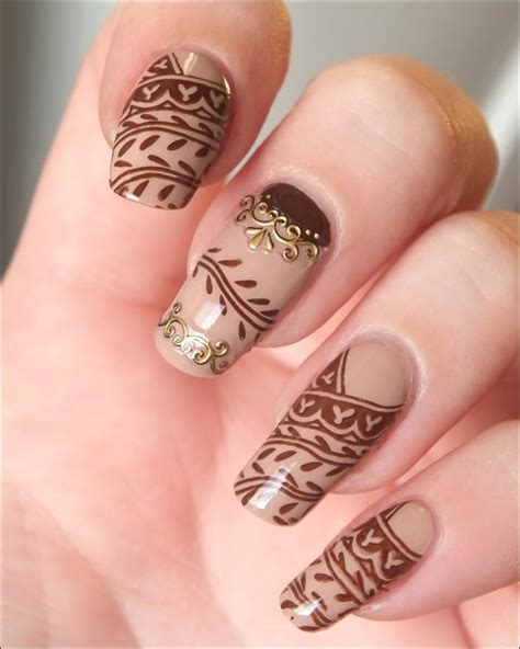 henna tattoo nail art henna designs nails makedes