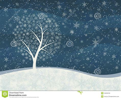 winter tree snowflakes stock vector winter card of snowfall with snowy tree stock vector image 34832246