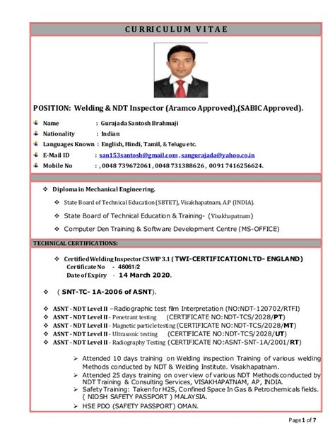 Best It Resume by Qa Qc Welding Amp Ndt Inspector For Poland Updated