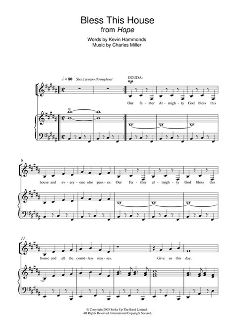 bless this house music bless this house from hope sheet music by charles miller kevin hammonds piano