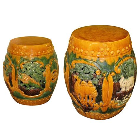 Ceramic Drum Stool by Vintage Pair Of Ceramic Garden Drum Stools Or Stands With