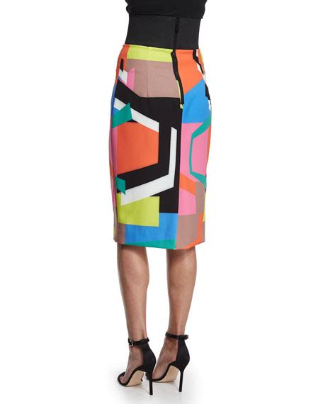 Print Midi Pencil Skirt milly graphic print midi pencil skirt
