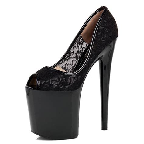 20cm peep toe s pumps black lace fashion 8 inch high