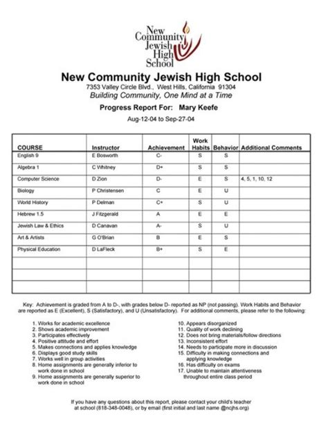 blank high school report card templates student report card template resume builder
