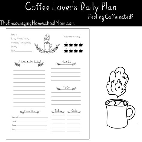 black and white printable planner 2016 free printable daily planner for coffee lovers