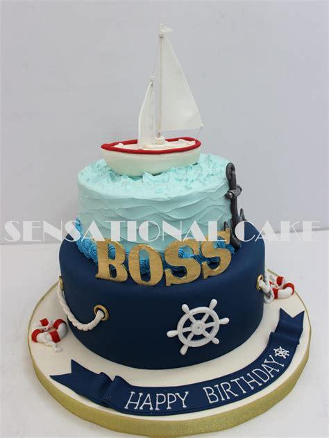 sensational cakes nautical theme cake  boss cake singapore blue sailing ship theme