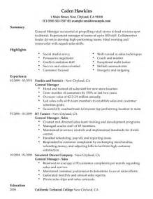 General Resume Sles by General Manager My Resume