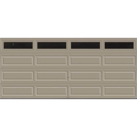 clopay premium series 16 ft x 7 ft 18 4 r value intellicore insulated sandstone garage door