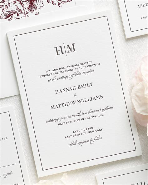 monogram wedding invitations glam monogram letterpress wedding invitations