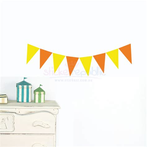 bunting wall stickers colourful bunting wall decal duo colour bunting wall sticker