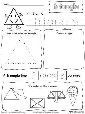 triangle pattern to trace all about triangle shapes printable worksheets color