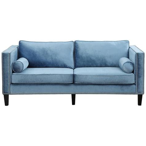 blue loveseats cooper blue velvet nailhead trim sofa