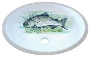 big fish painted sink rustic bathroom sinks by