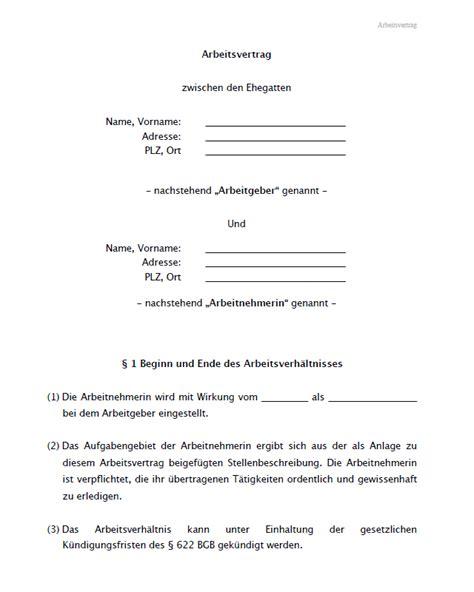Vorlage Kündigung Arbeitsvertrag Arbeitnehmer Kostenlos Muster Eines Arbeitsvertrags F 252 R Ehegatten Zum
