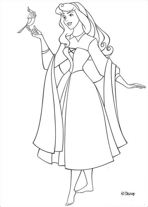 Princess Aurora With A Bird Coloring Pages Hellokids Com Princess Sleeping Coloring Pages Printable