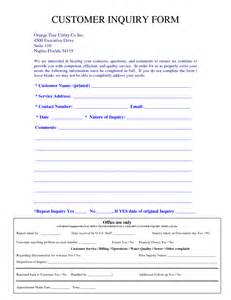 enquiry form template word request for customer feedback template sle form autos