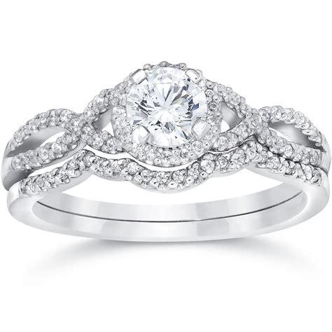 3 4ct infinity engagement wedding ring set 14k