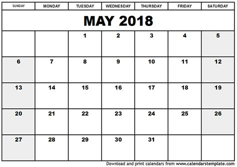 Free Calendar Printable Template by May 2018 Calendar Template Calendar Printable Free