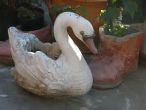 vintage concrete garden swan planter garden decoration
