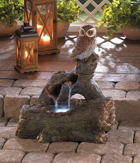 Garden Fountains And Outdoor Decor Owl Perch Water Garden Outdoor Decor New 10016359 Ebay