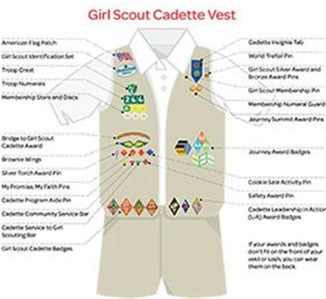 cadette sash diagram where to place insignia on a cadette s vest or sash