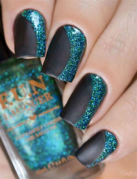 Jiuku Nail Purple Green White Glitter 63 65 winter nail ideas matte black nails green