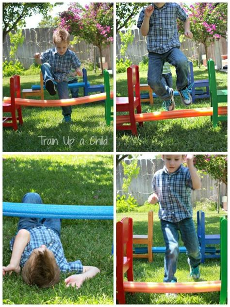 Backyard Using Pool Noodles Pool Noodle Backyard Obstacle Course Learn Play Imagine