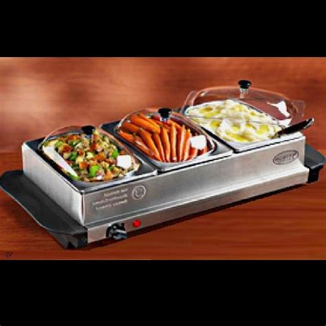 3 station buffet stainless steel server warming tray new