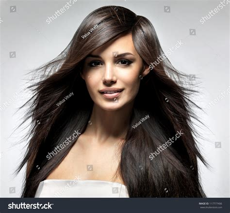 models with stright hair fashion model long straight hair fashion stock photo