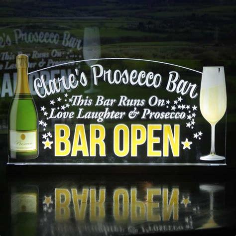 light up bar signs jaf graphics led light up prosecco bar sign