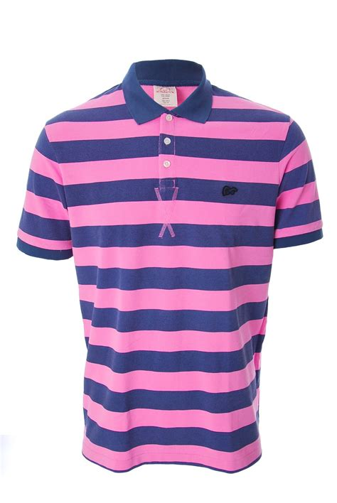 Evisu Navu Blue evisu striped pique pink polo shirt ebay