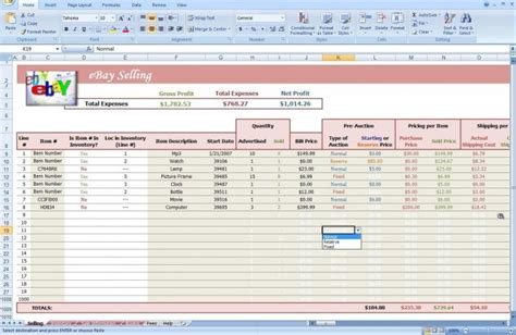 Ebay Inventory Spreadsheet by Ebay Auction Excel Spreadsheet Inventory Profit