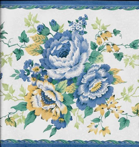blue yellow wallpaper border country blue and yellow floral on white with blue trim