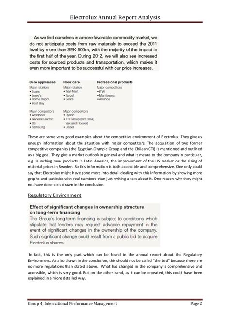Annual Report Analysis Template Electolux Annual Report Analysis