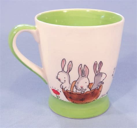whittard easter bunny rabbits green trim hand painted tea