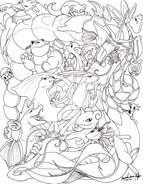 hard coloring pages of pokemon water pokemon line by therainedrop on deviantart
