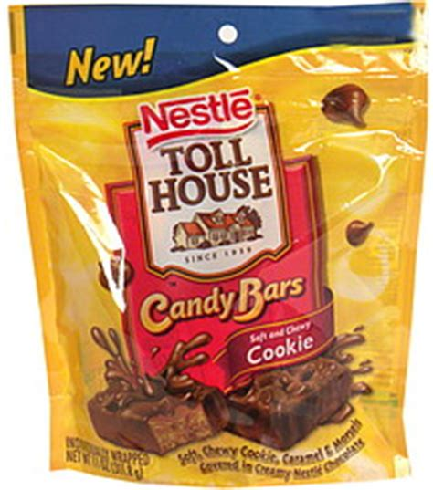 toll house cookie bars toll house candy bars soft and chewy cookie 11 0 oz nutrition information shopwell
