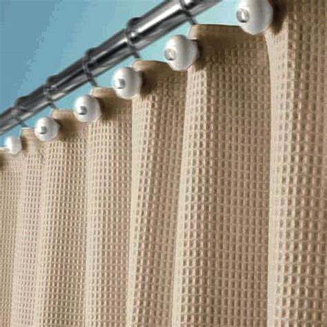 Linen Curtains With Grommets Beige Tan Fabric Waffle Weave Shower Curtain Ebay