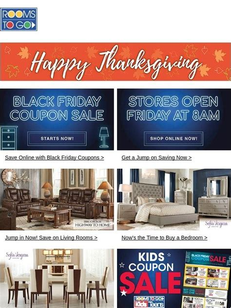 rooms to go coupon rooms to go happy thanksgiving shop the black friday coupon sale now milled