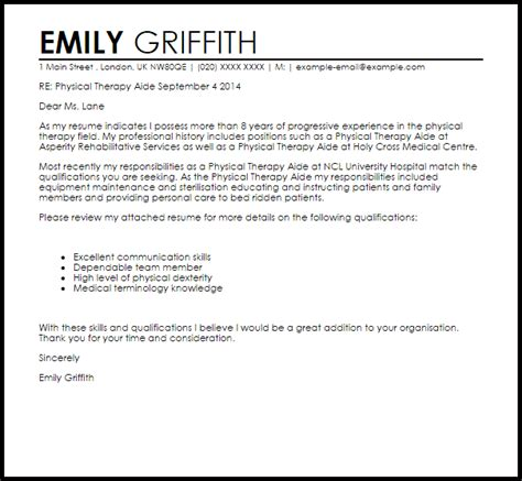 19 physical therapy aide cover letters lock resume