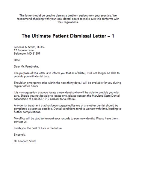 Patient Termination Letter Exle The Ultimate Patient Dismissal Letter 1 The Madow Brothers