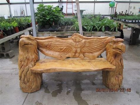 chainsaw carved eagle bench garden pinterest benches