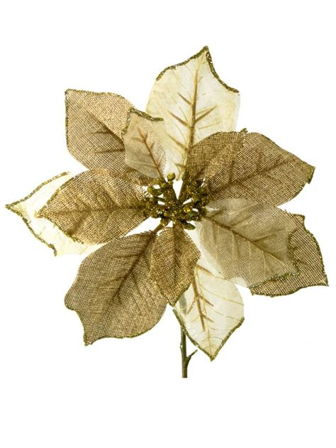 hessian gold poinsettia picks gold ivory organza poinsettia decorative 26cm decorations the