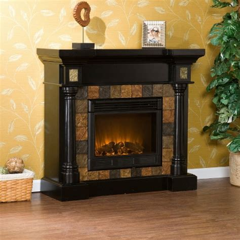 Black Slate Fireplace Surround by New Black Electric Fireplace With Slate Tile Surround For