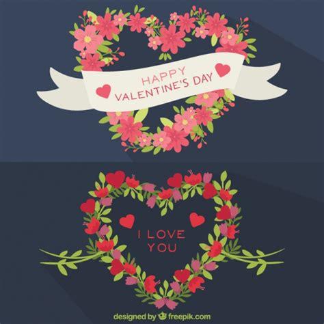 fiori a forma di cuore corone di fiori a forma di cuore scaricare vettori gratis