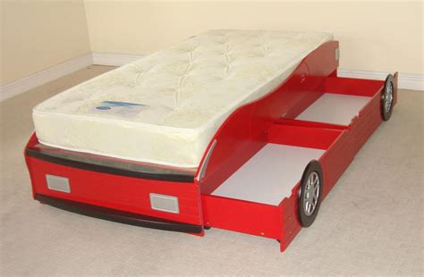 Car Bed Frames New In Red Wooden Racing Car Bed Frame Only With 2 Storage