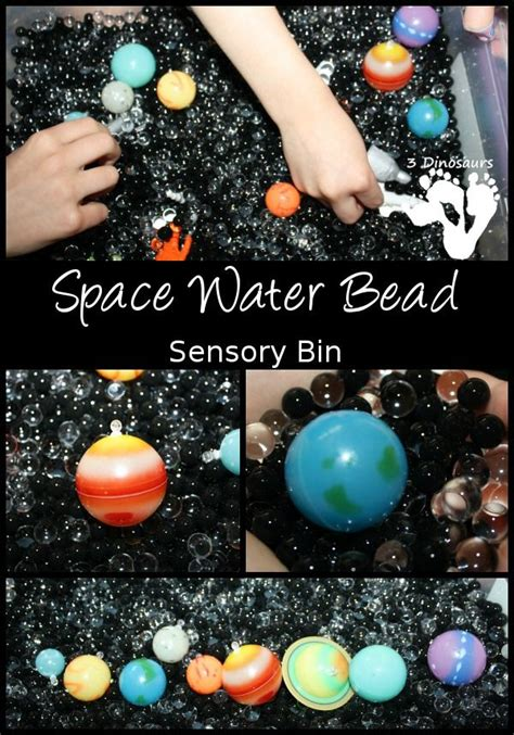 space sensory space water bead sensory bin hands on learning of space