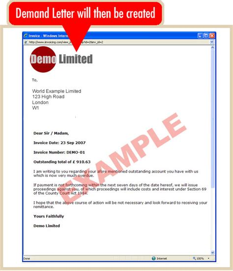 Invoice Demand Letter Create An Demand Letter Iinvoicing The Invoicing System